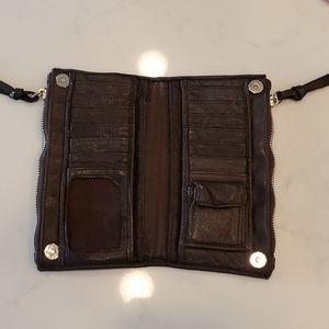 None Bags - Brown leather wallet unique metal details